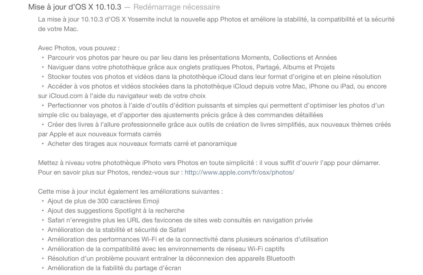 OS X 10.10.3 Nouveautés