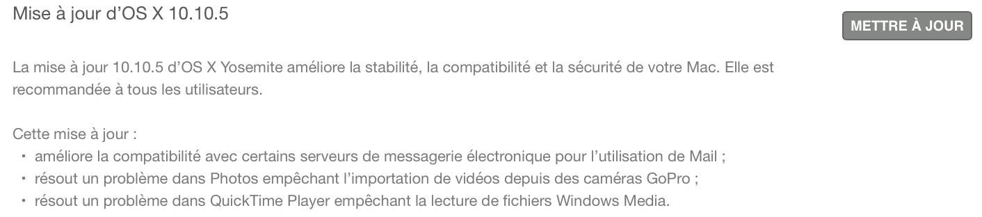 OS X 10.10.5 nouveautés