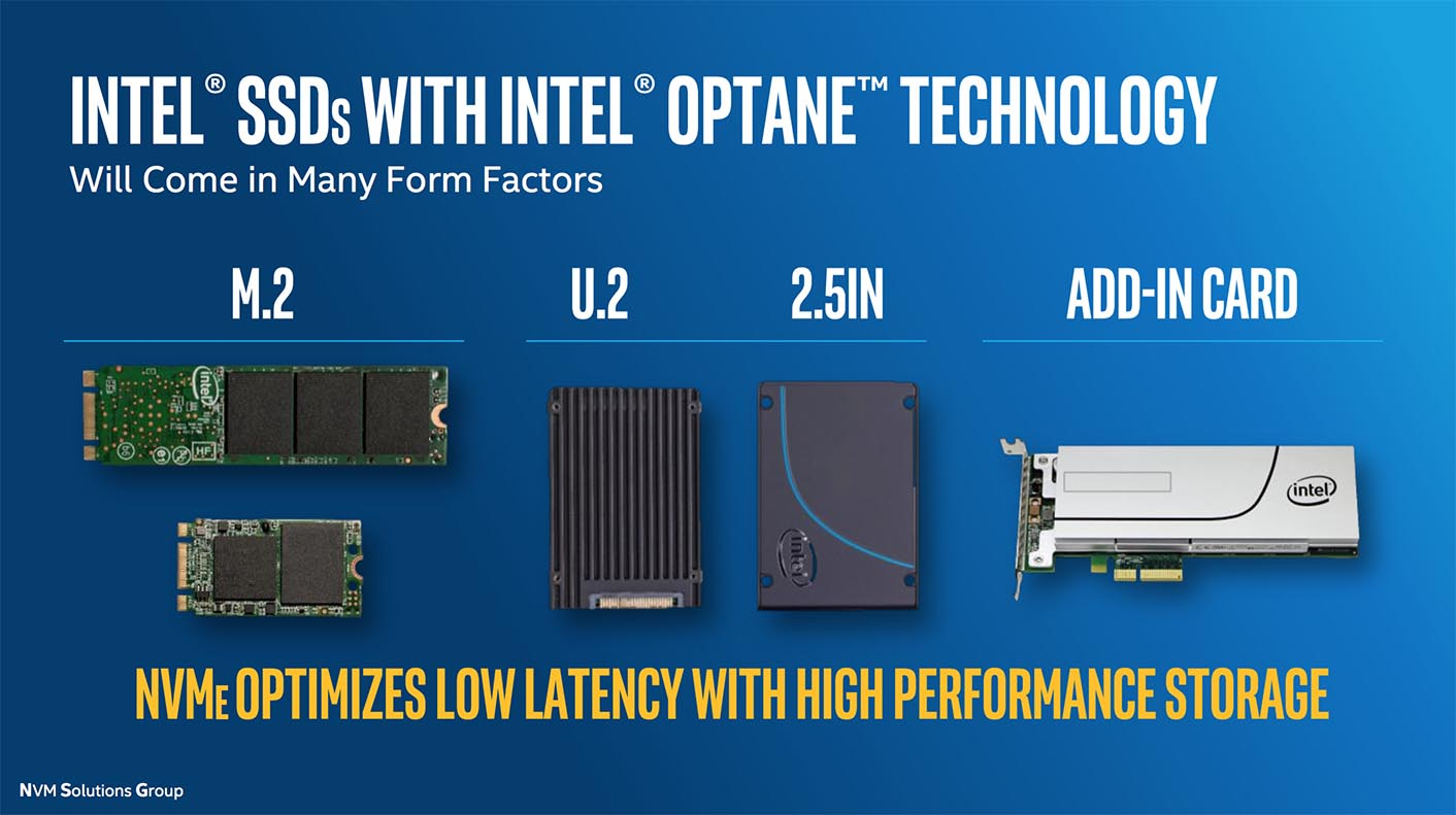 3D Xpoint Optane form factors