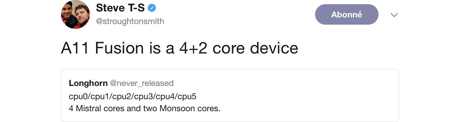 Apple A11 six coeurs tweet
