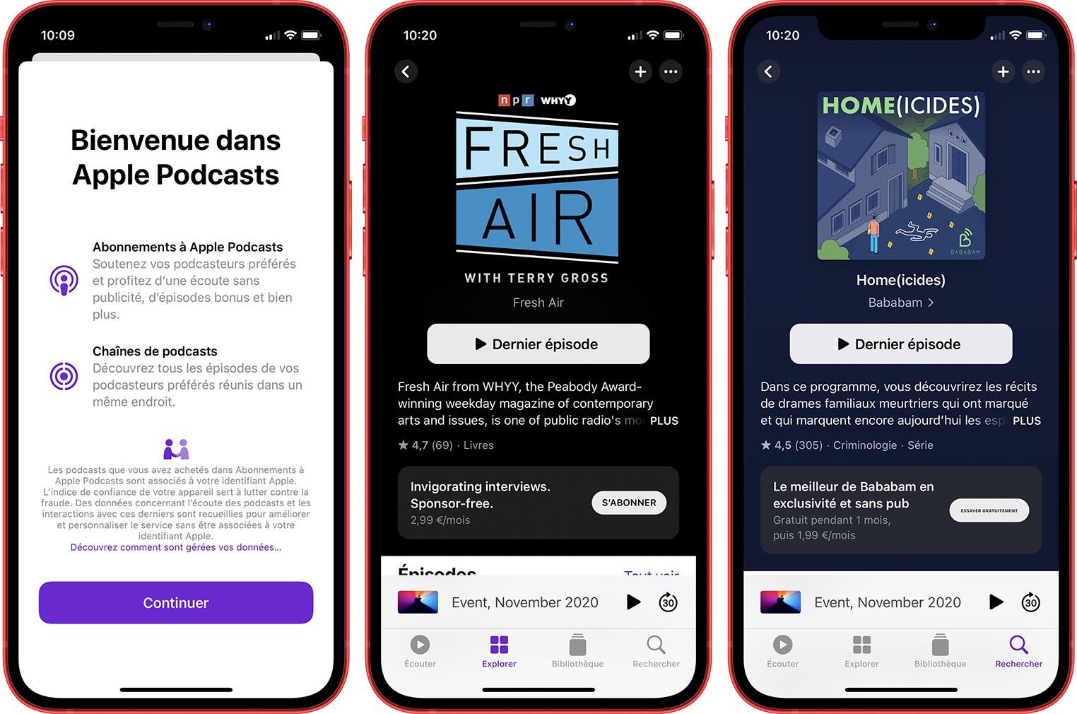 Abonnements Apple Podcasts