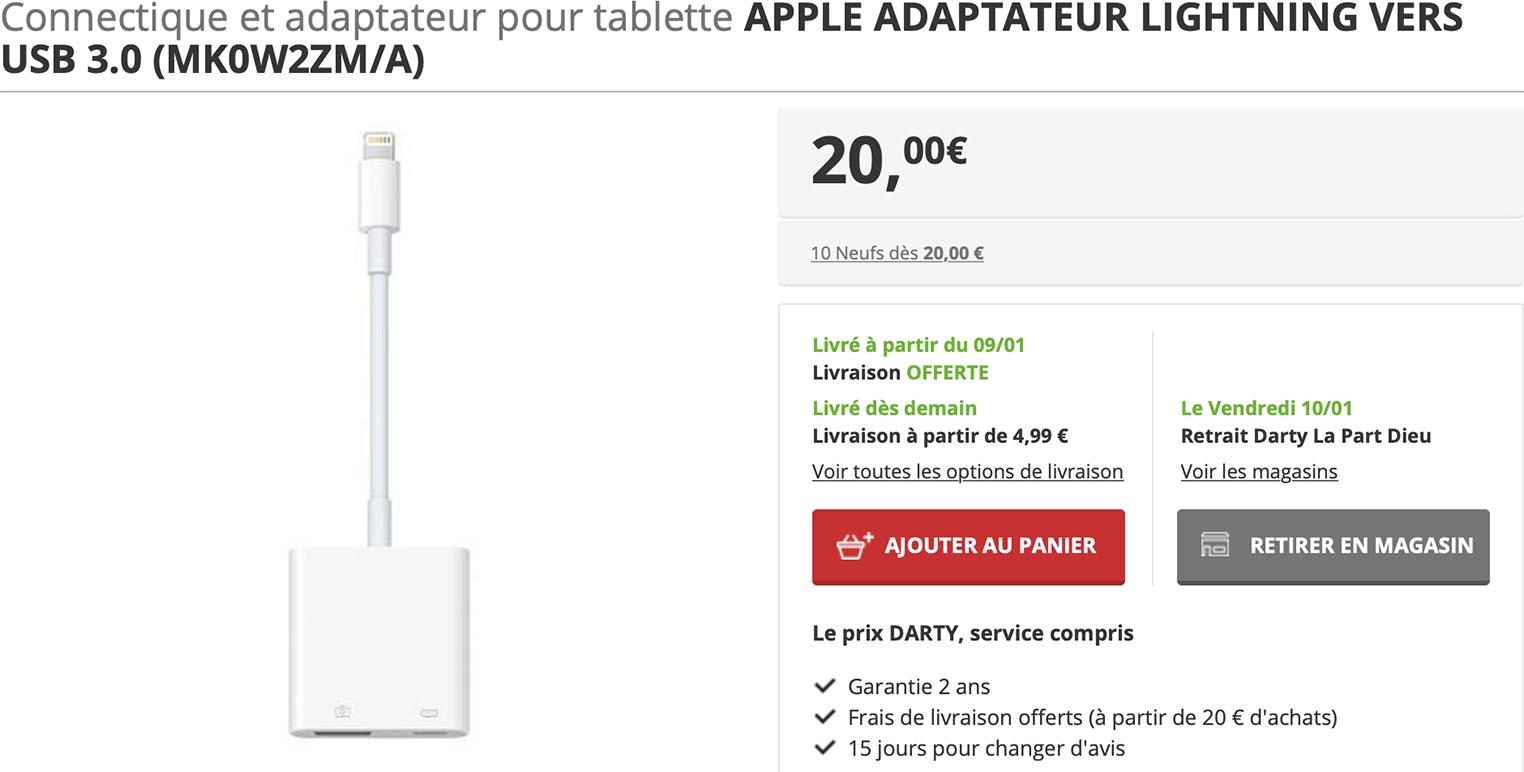 Adaptateur Lightning USB 3 Apple Darty