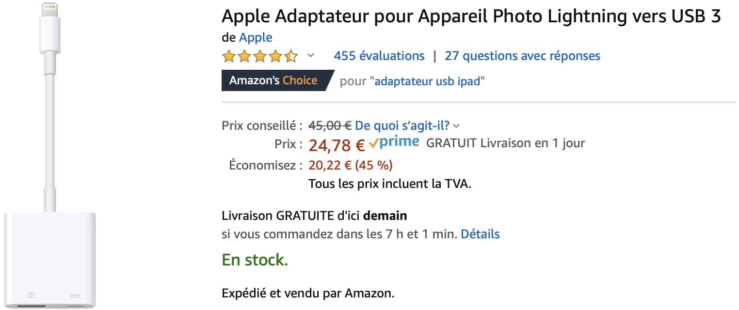 Adaptateur Lightning USB 3 Apple