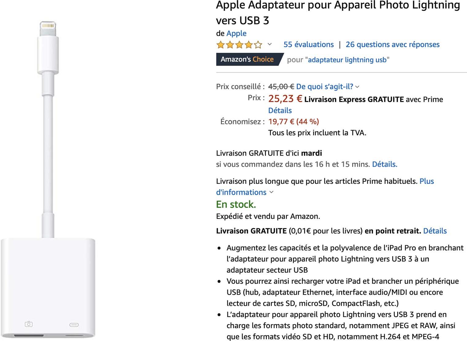 Apple Adaptateur pour Appareil Photo Lightning vers USB 3