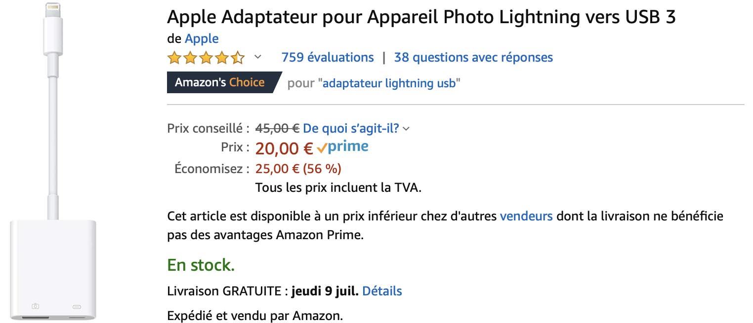 Adaptateur Photo Lightning vers USB 3 Apple Amazon