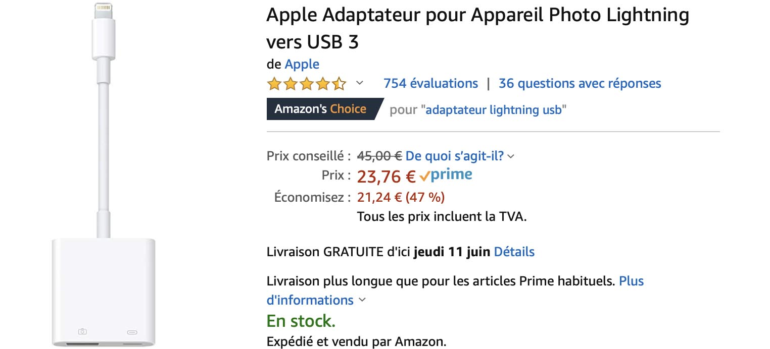 Adaptateur USB 3 Apple Amazon