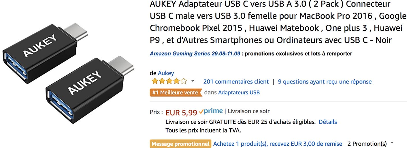 Adaptateurs USB-C Aukey Amazon