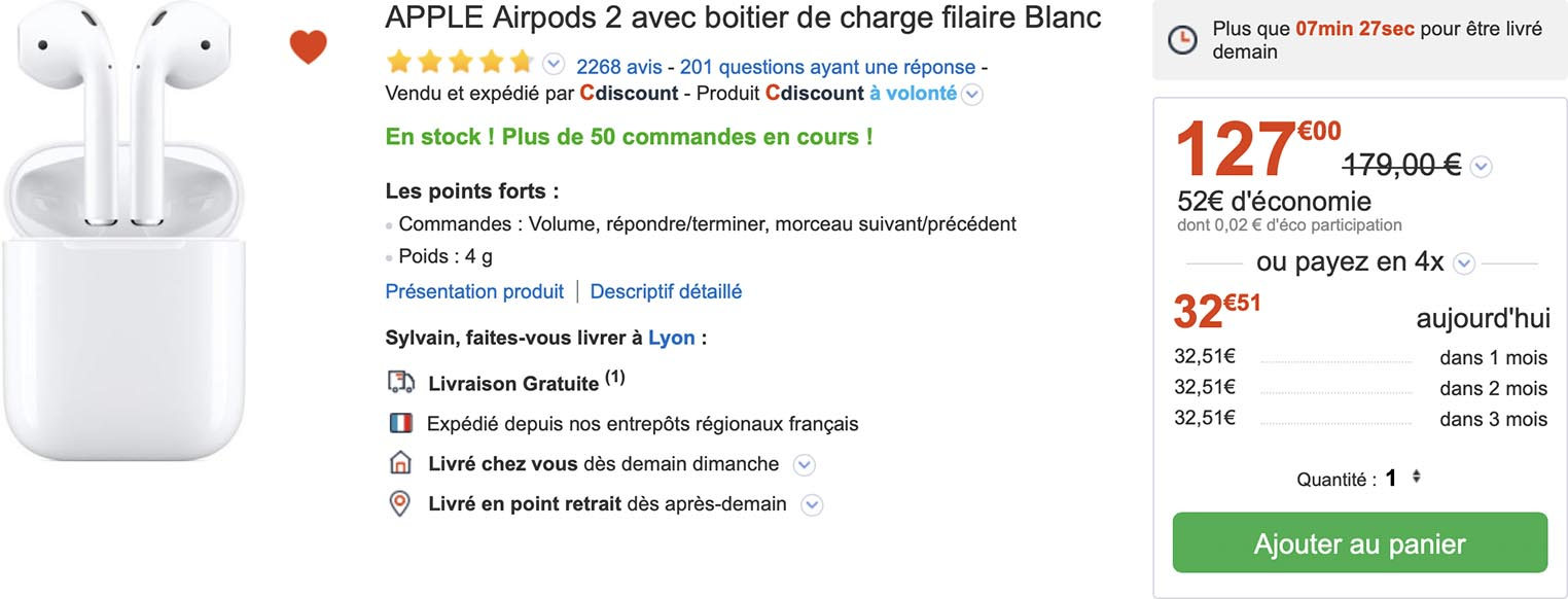 AirPods 2 CDiscount