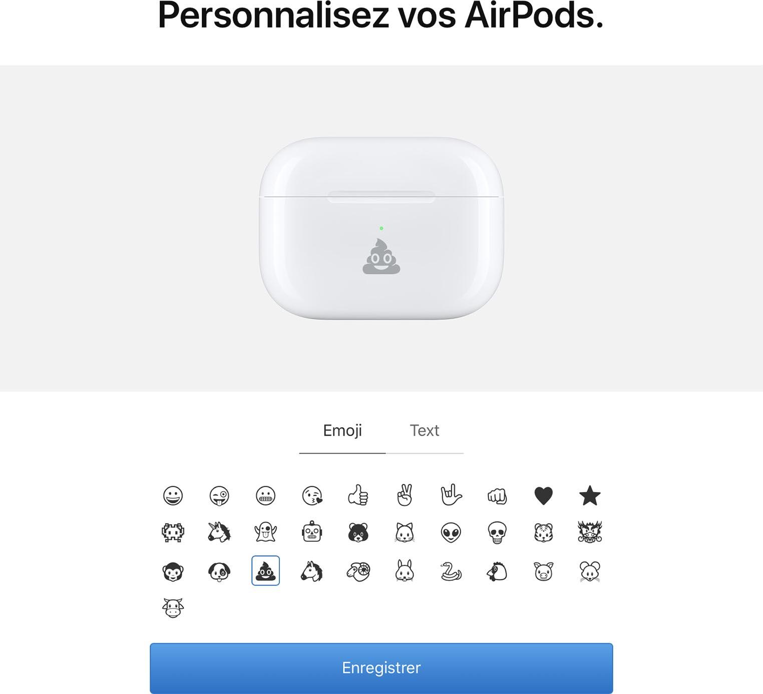 Gravure emoji boîtier AirPods