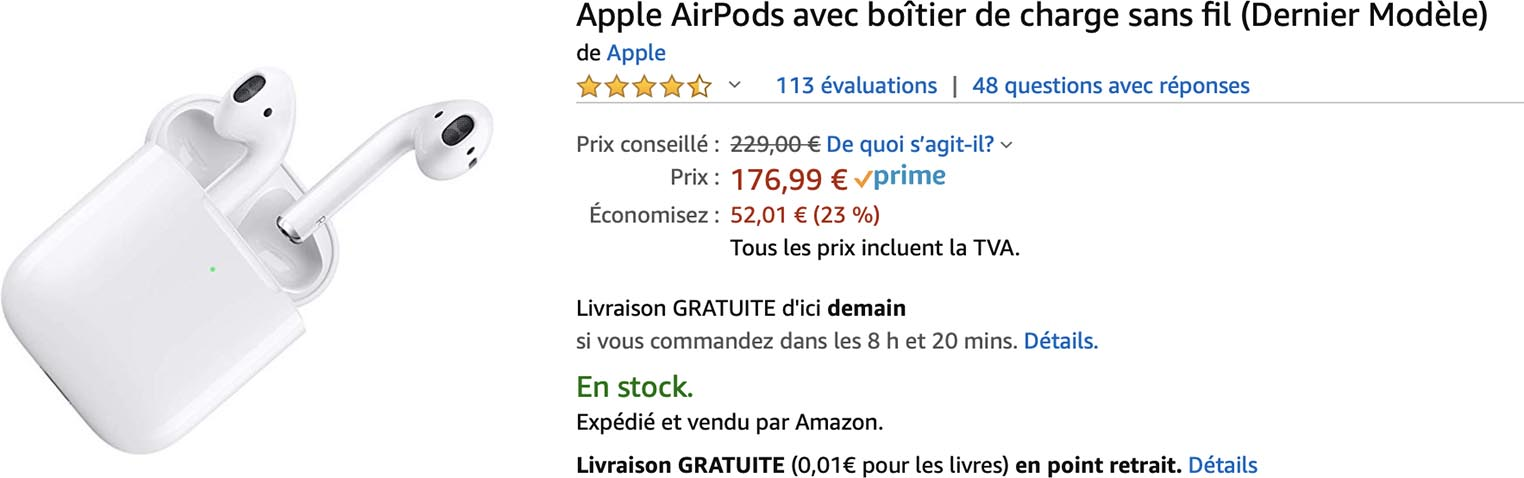 Les AirPods avec boîtier sans fil à 176,99€ (-23%)