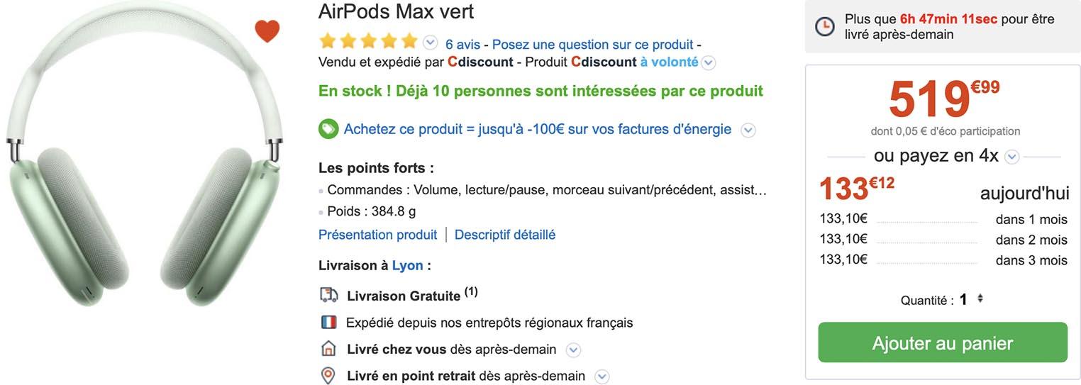 AirPods Max vert CDiscount
