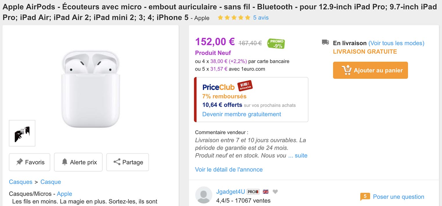 AirPods PriceMinister
