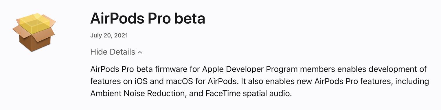 AirPods Pro firmware bêta