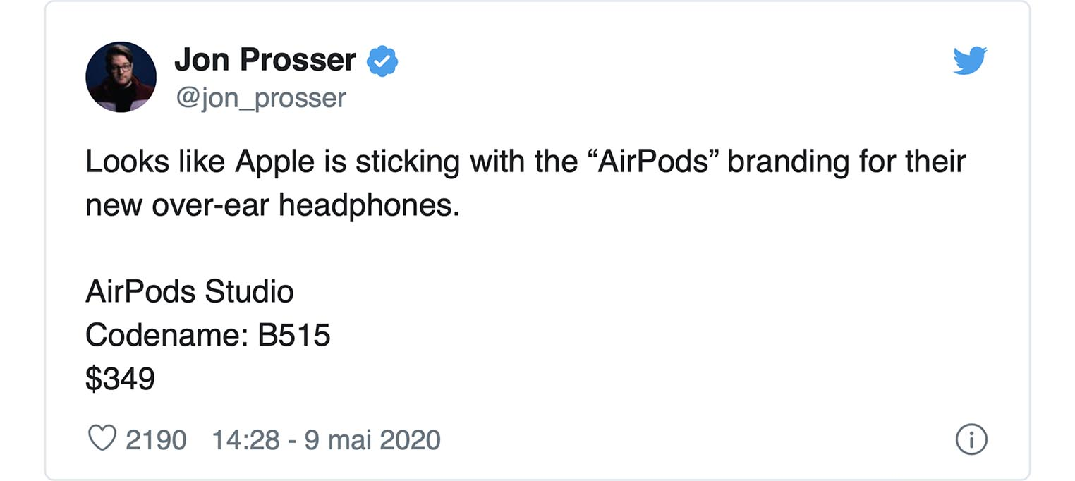 Tweet AirPods Studio Jon Prosser