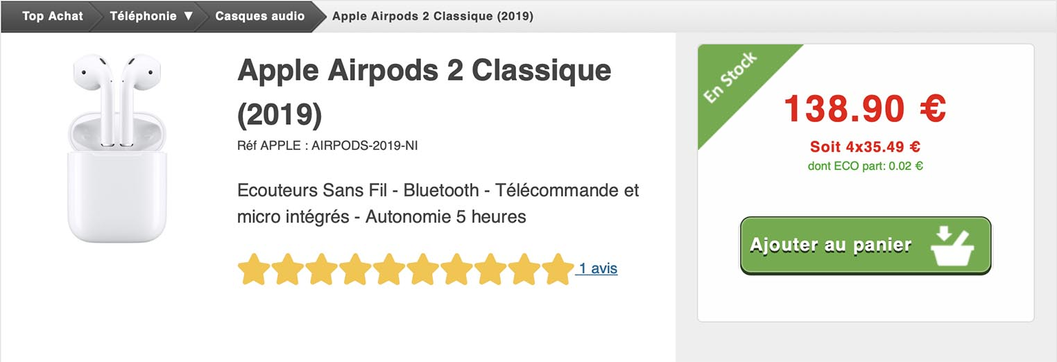 AirPods 2 Top Achat