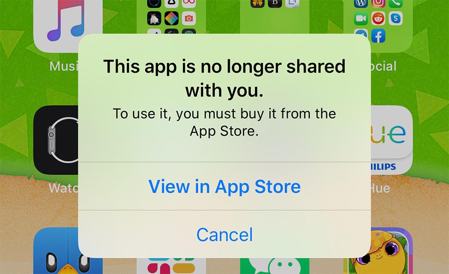 Cette app n'est plus partagée avec vous
