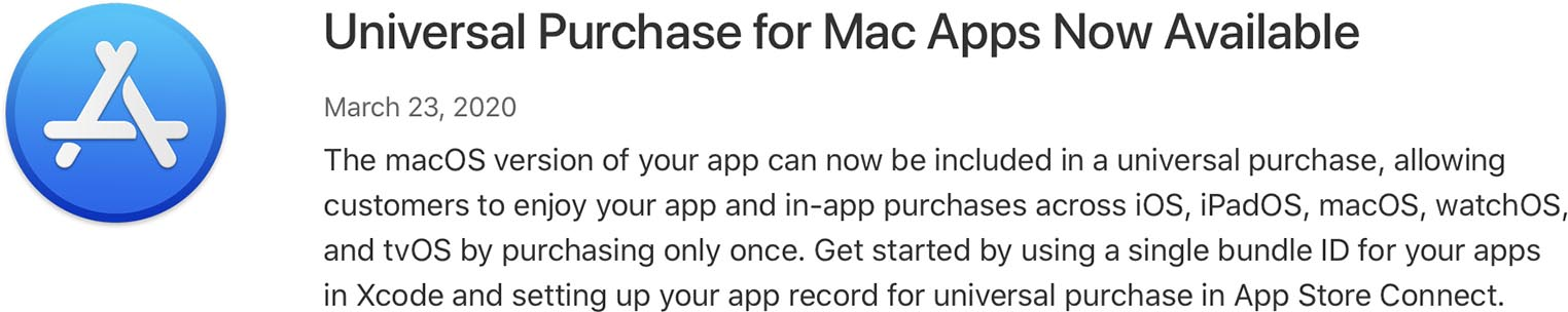 App Store achats universels