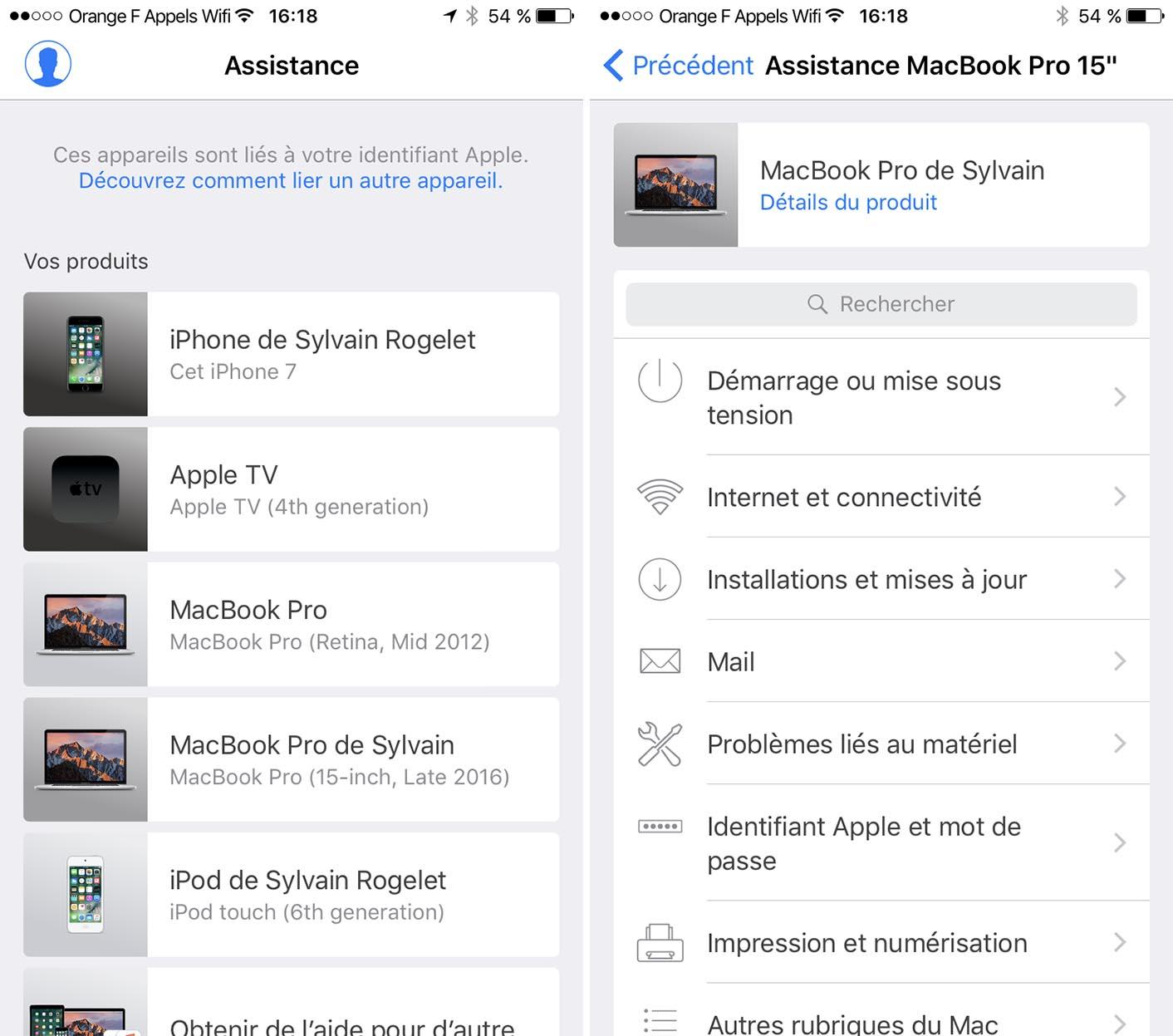 Assistance Apple application