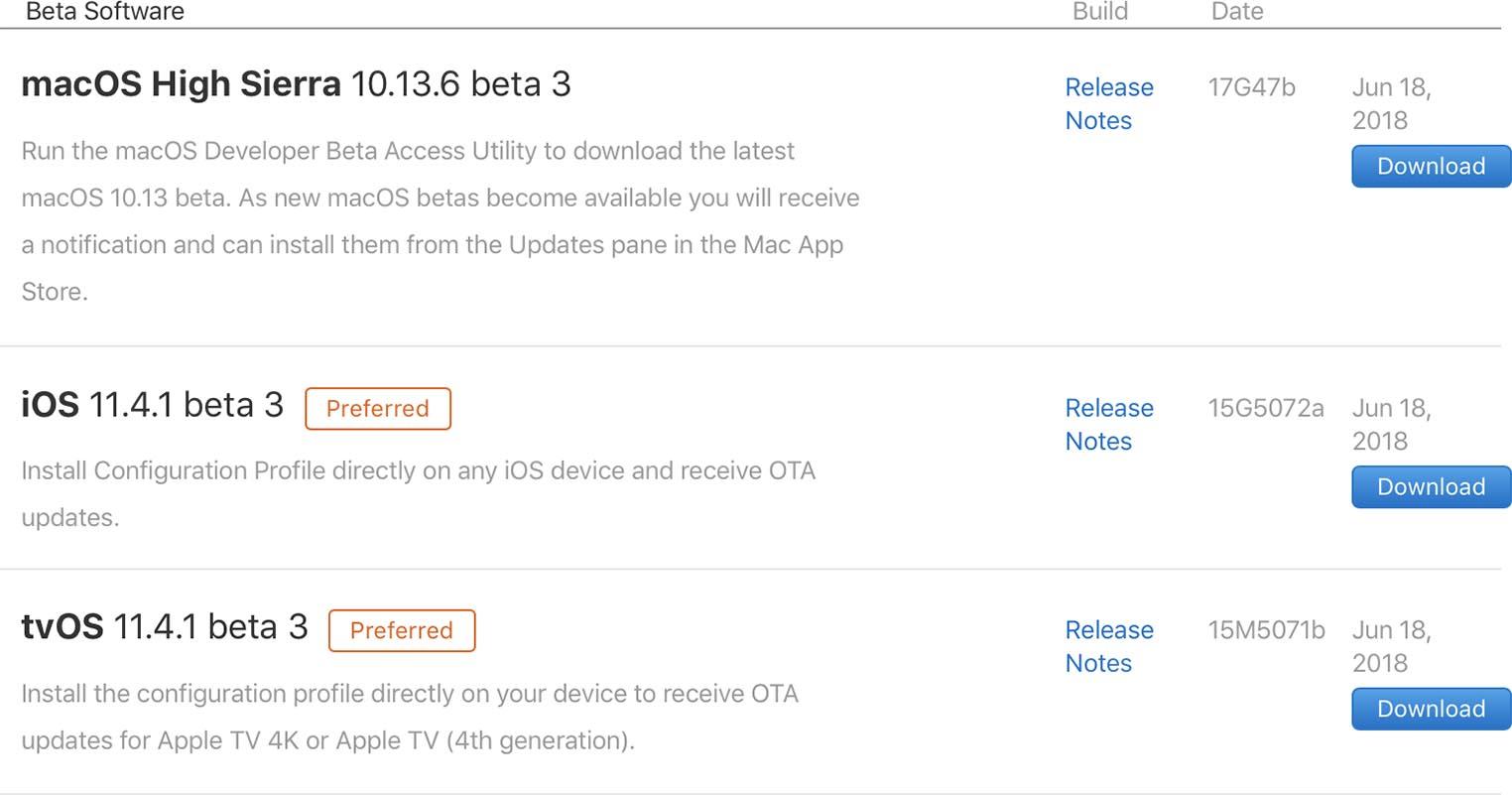 Apple bêtas 19 juin 2018