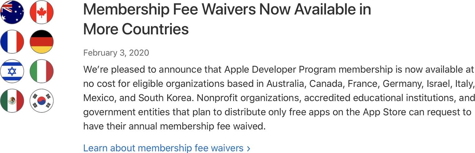 Apple Developer Program Waiver