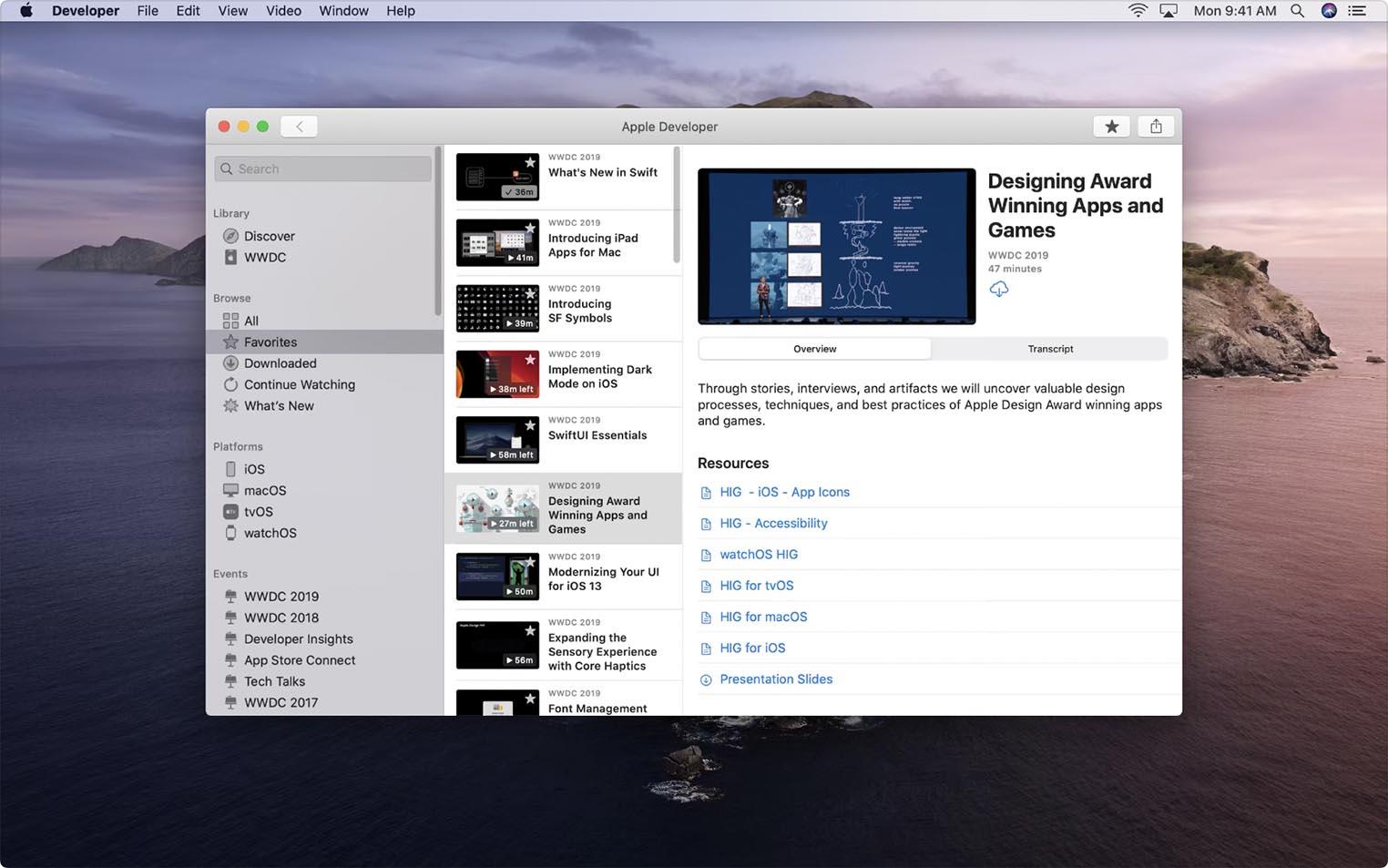 Apple Developper app Mac