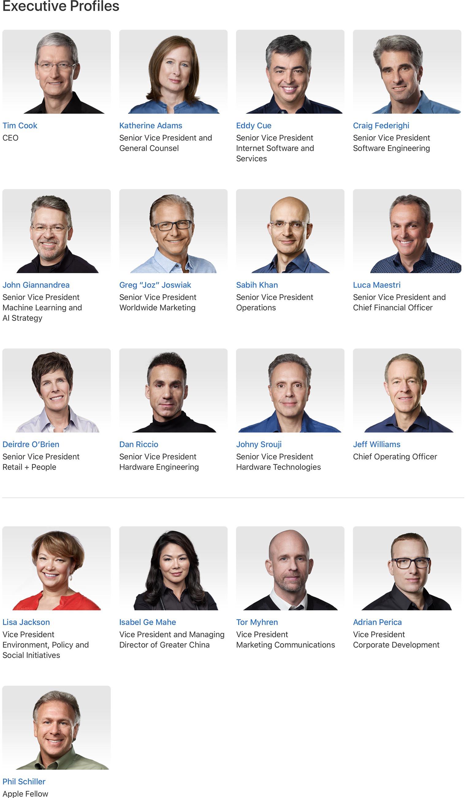 Apple Executives 2020
