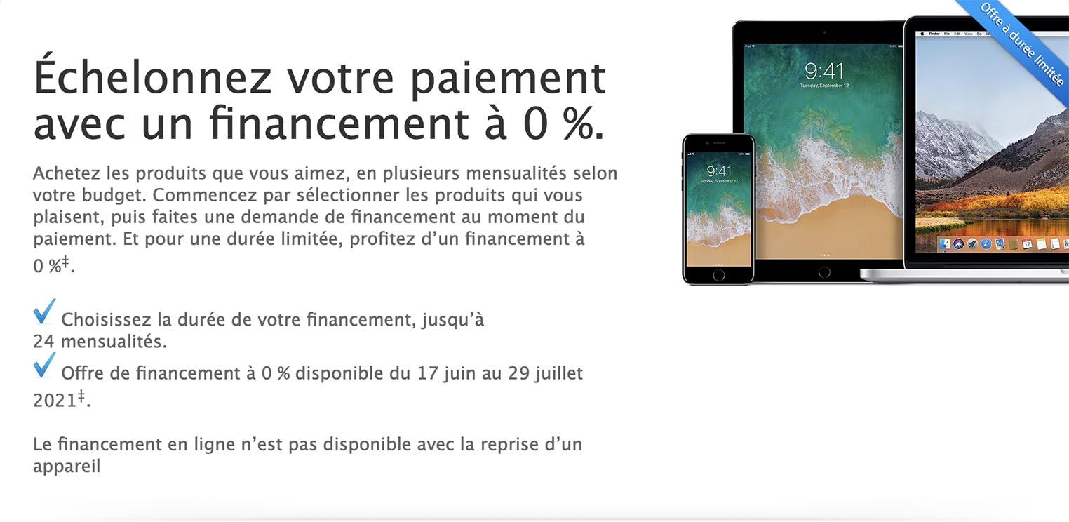 Offre financement 0% Apple