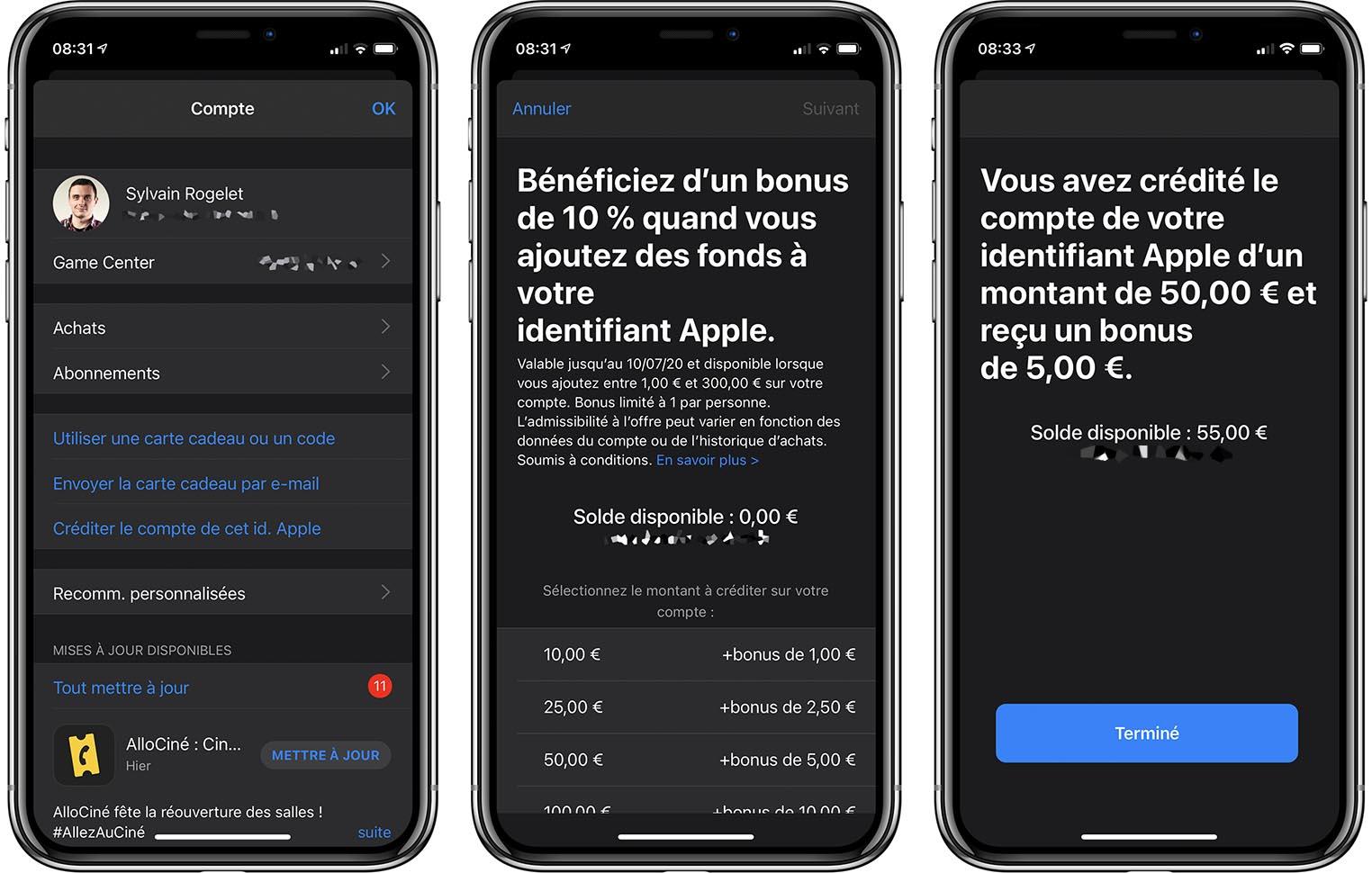 Bonus recharge Apple ID