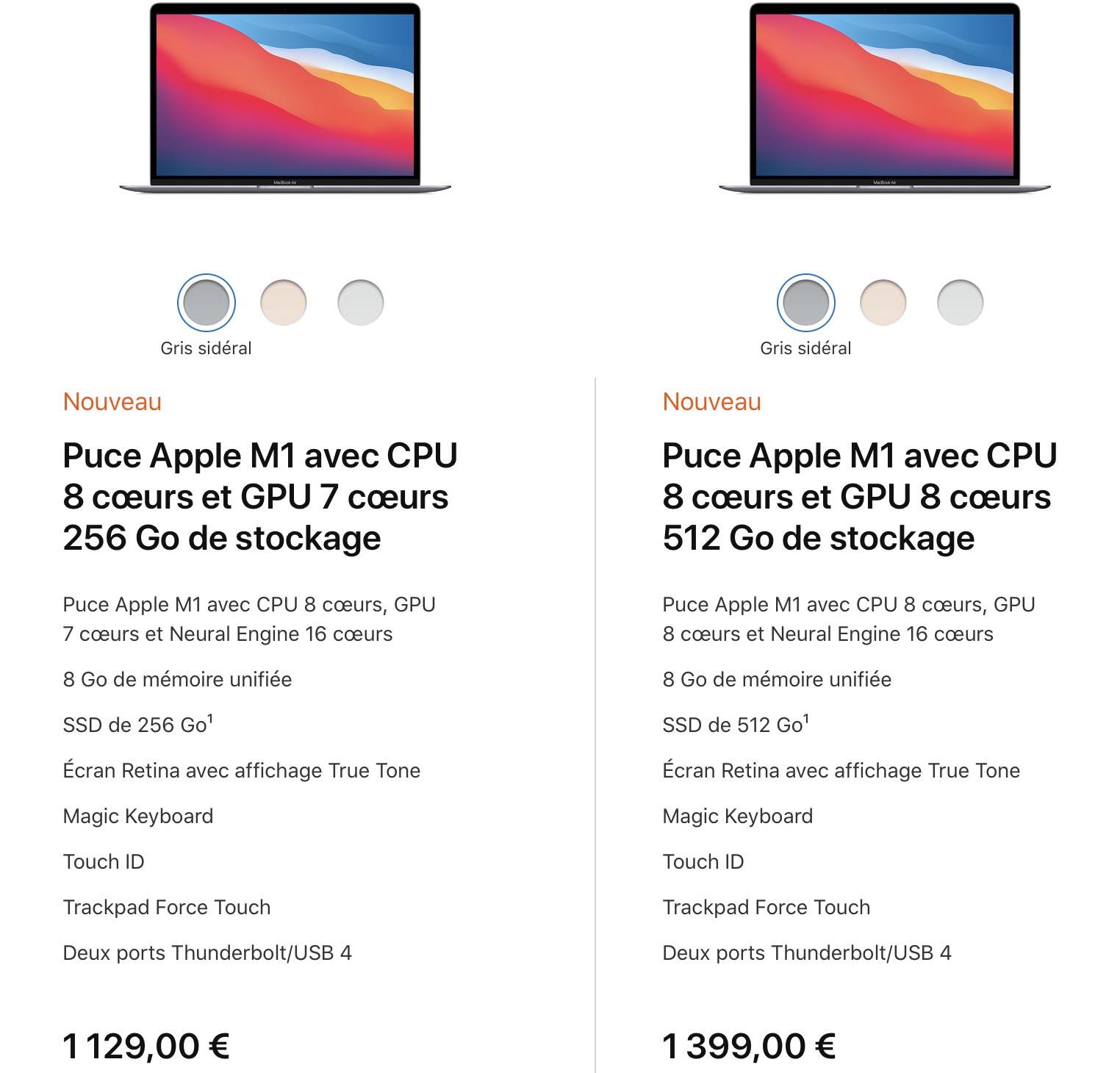 MacBook Air Apple M1 specs