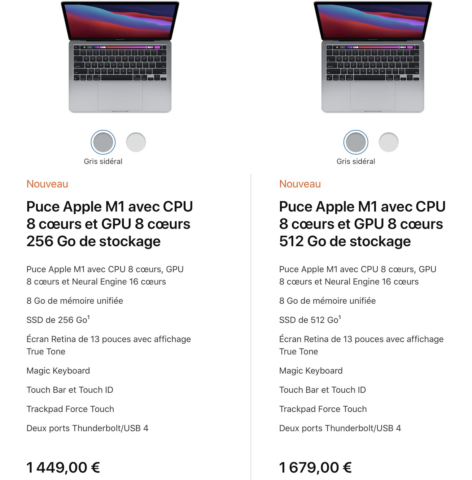 Specs MacBook Pro 13 2020 Apple M1