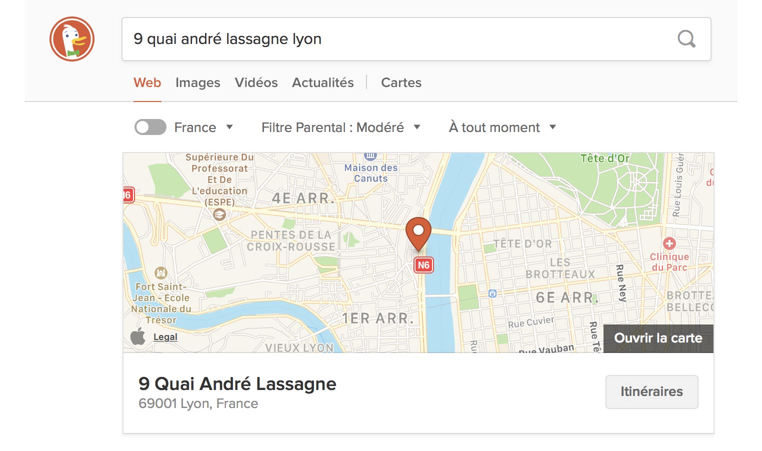 Apple Maps DuckDuckGo