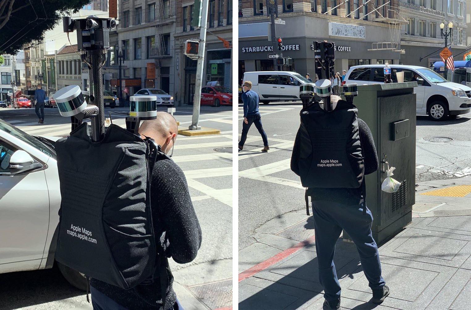 Apple Maps piéton sac à dos