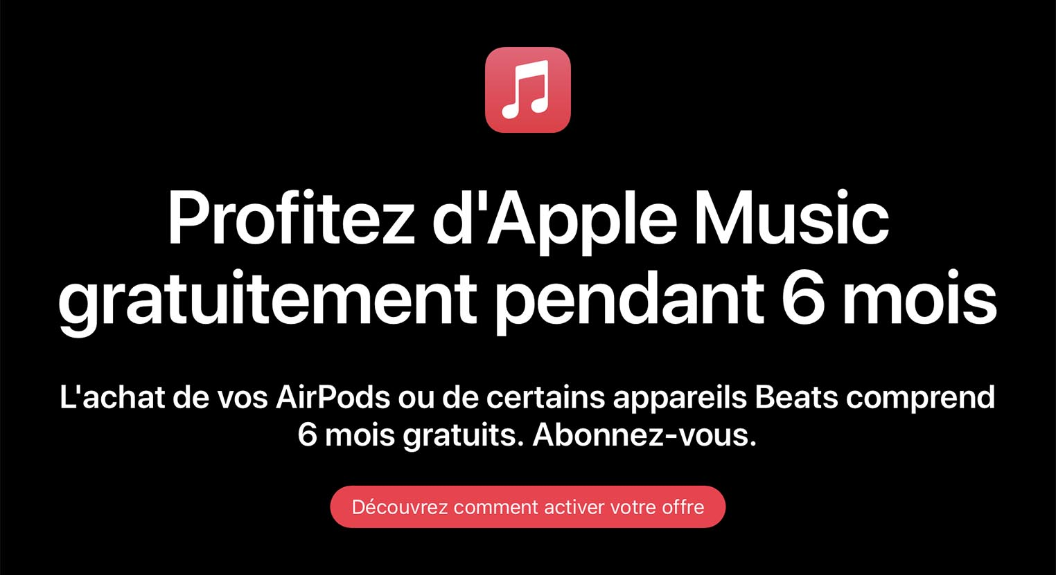 Apple Music 6 mois offerts