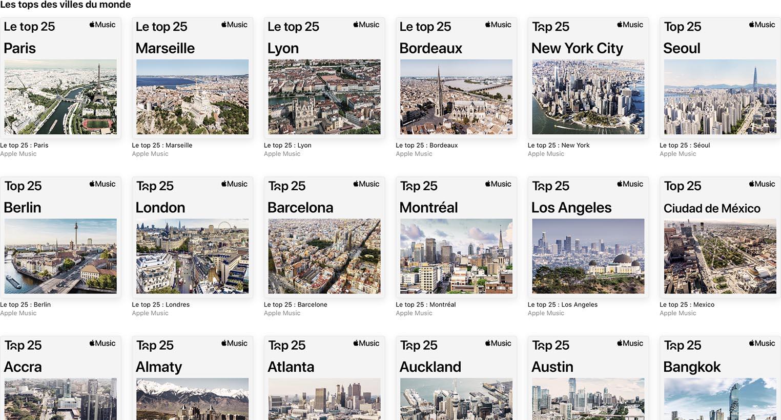 Top 25 villes Apple Music