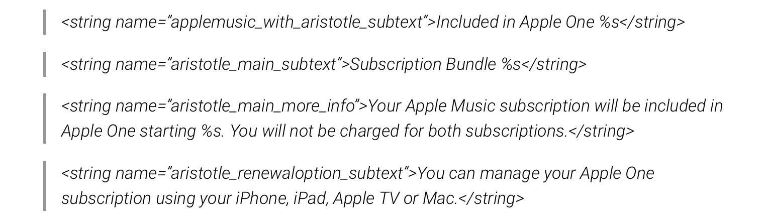Apple One strings