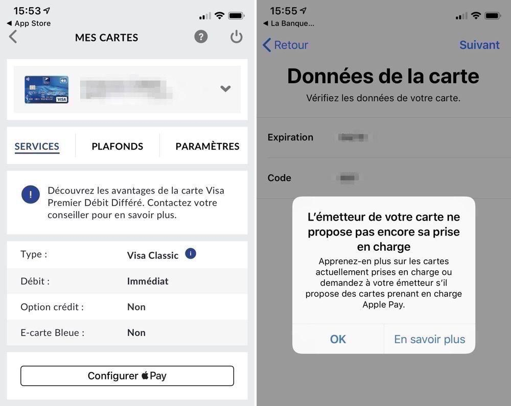 Apple Pay application Banque Postale