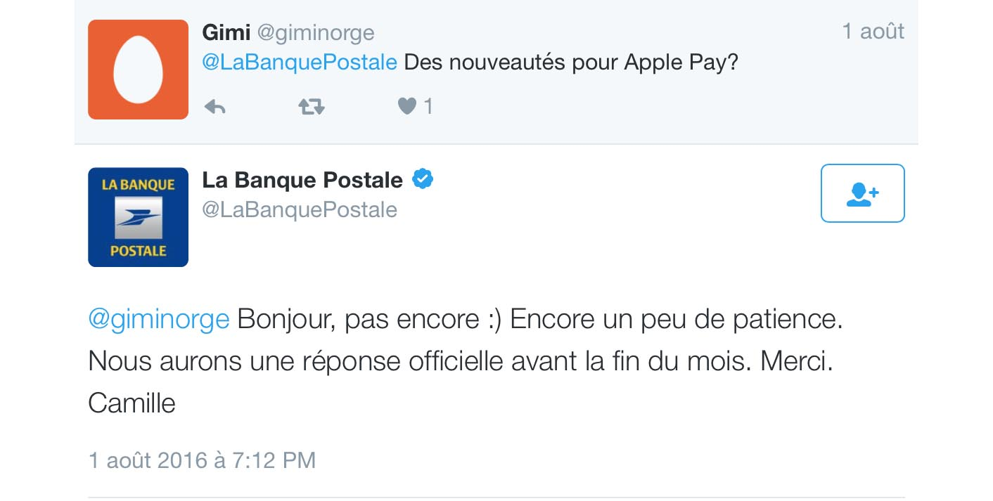 Apple Pay Banque postale Tweet