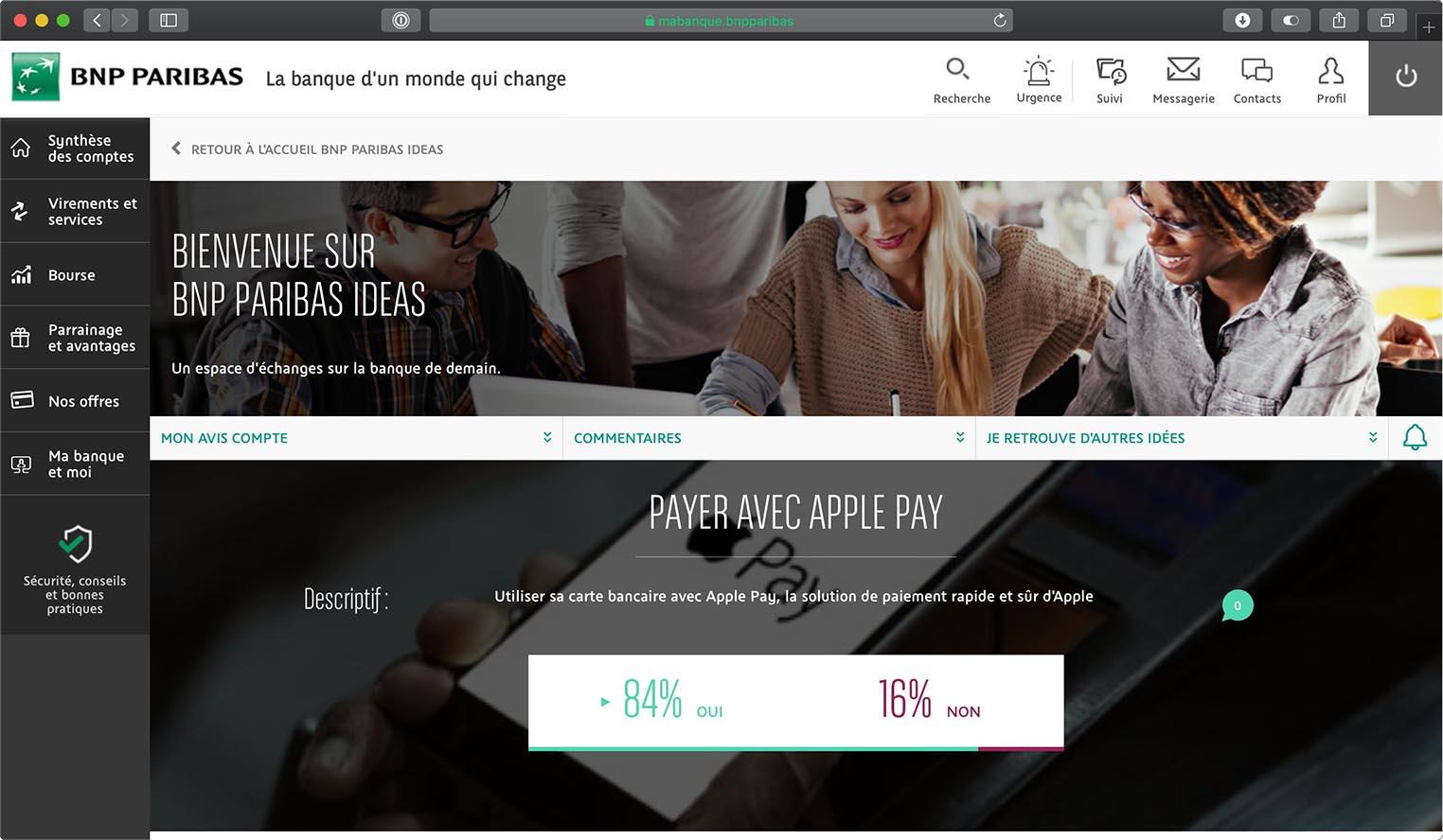 Apple Pay sondage BNP Paribas