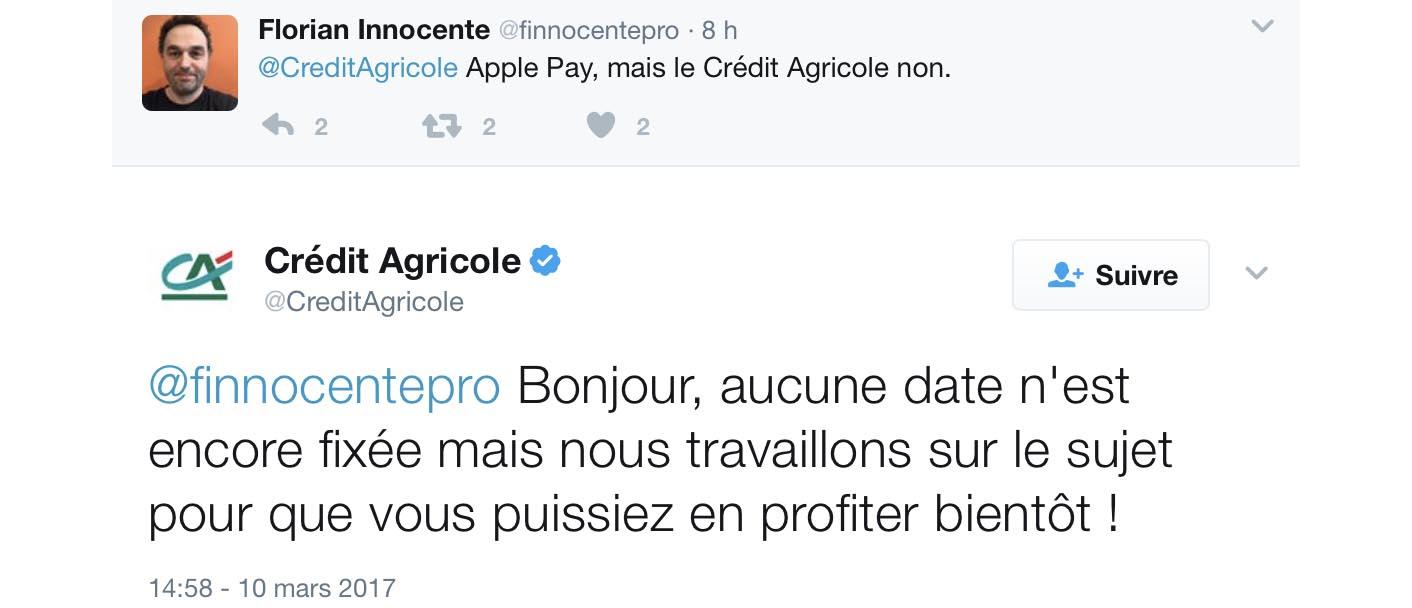 Apple Pay Crédit Agricole tweet