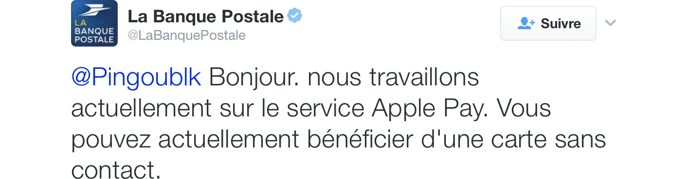 Apple Pay Banque Postale Tweet