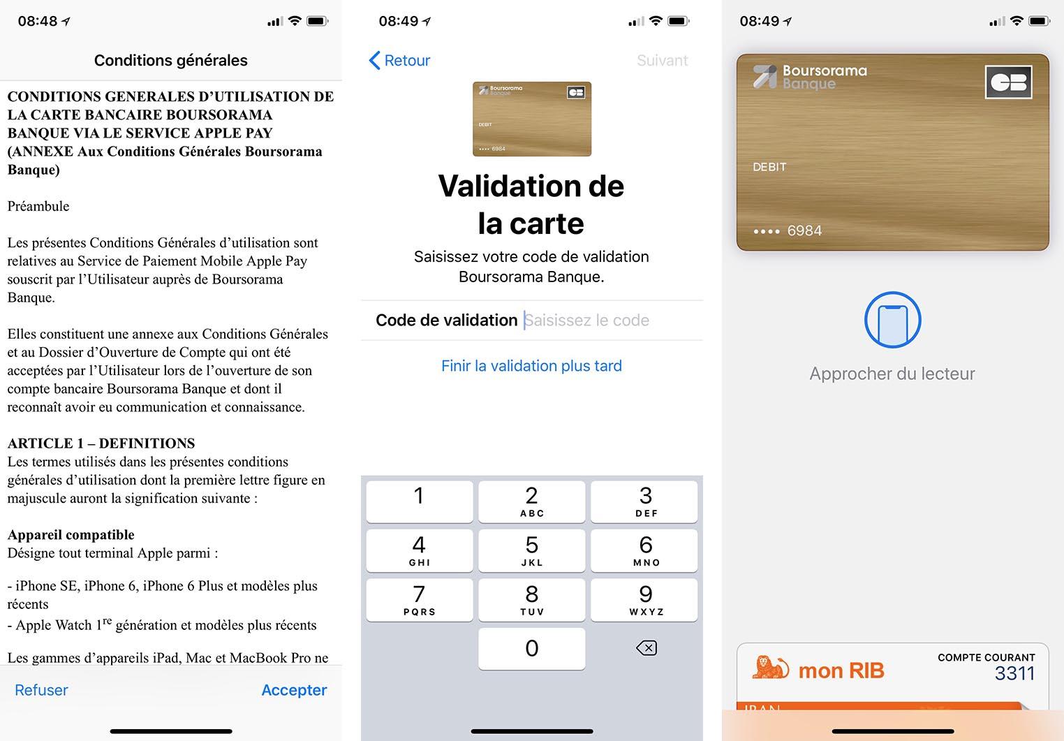 Apple Pay Boursorama configuration