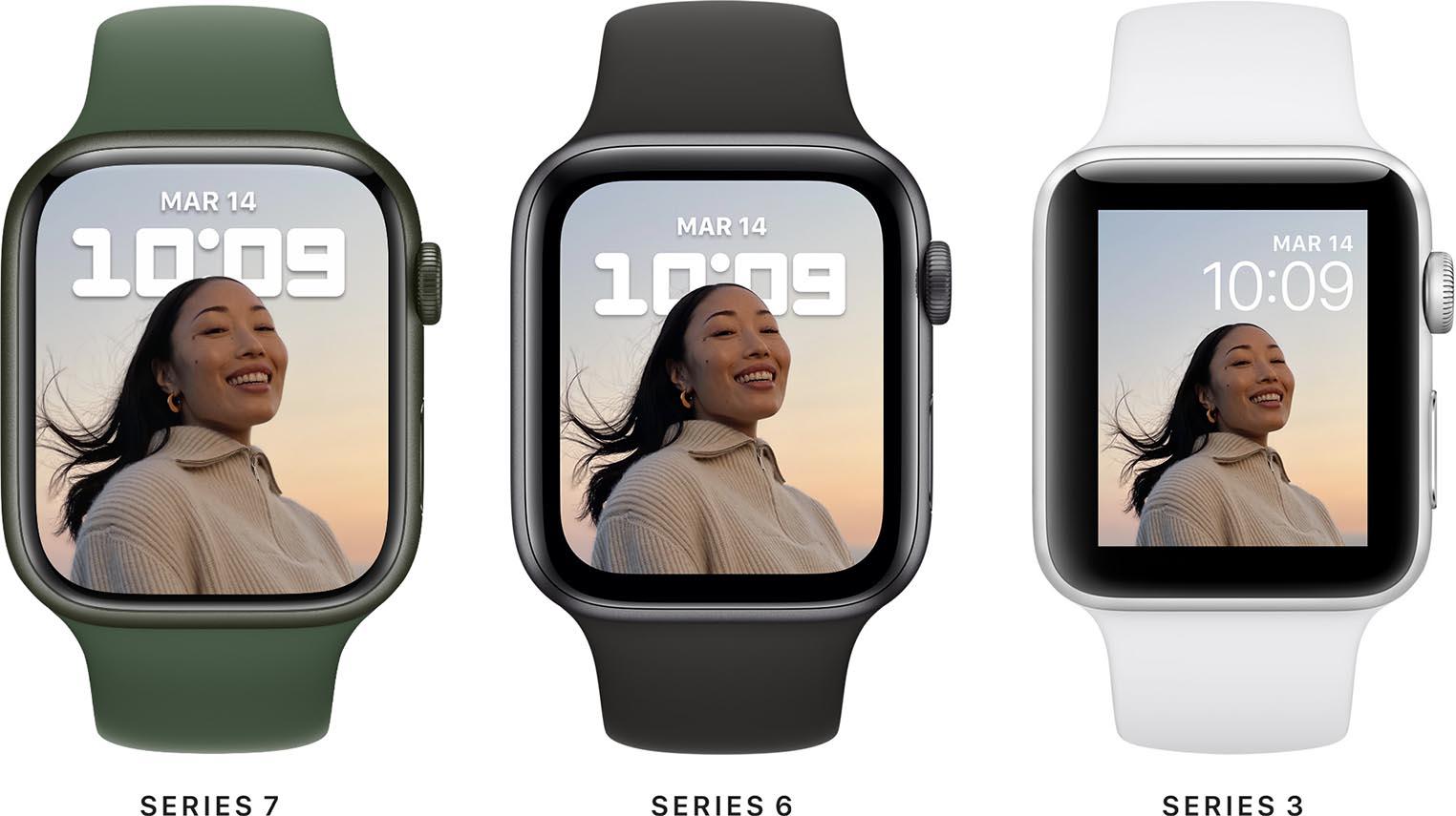 Apple Watch Series 7 comparatif taille d'écran