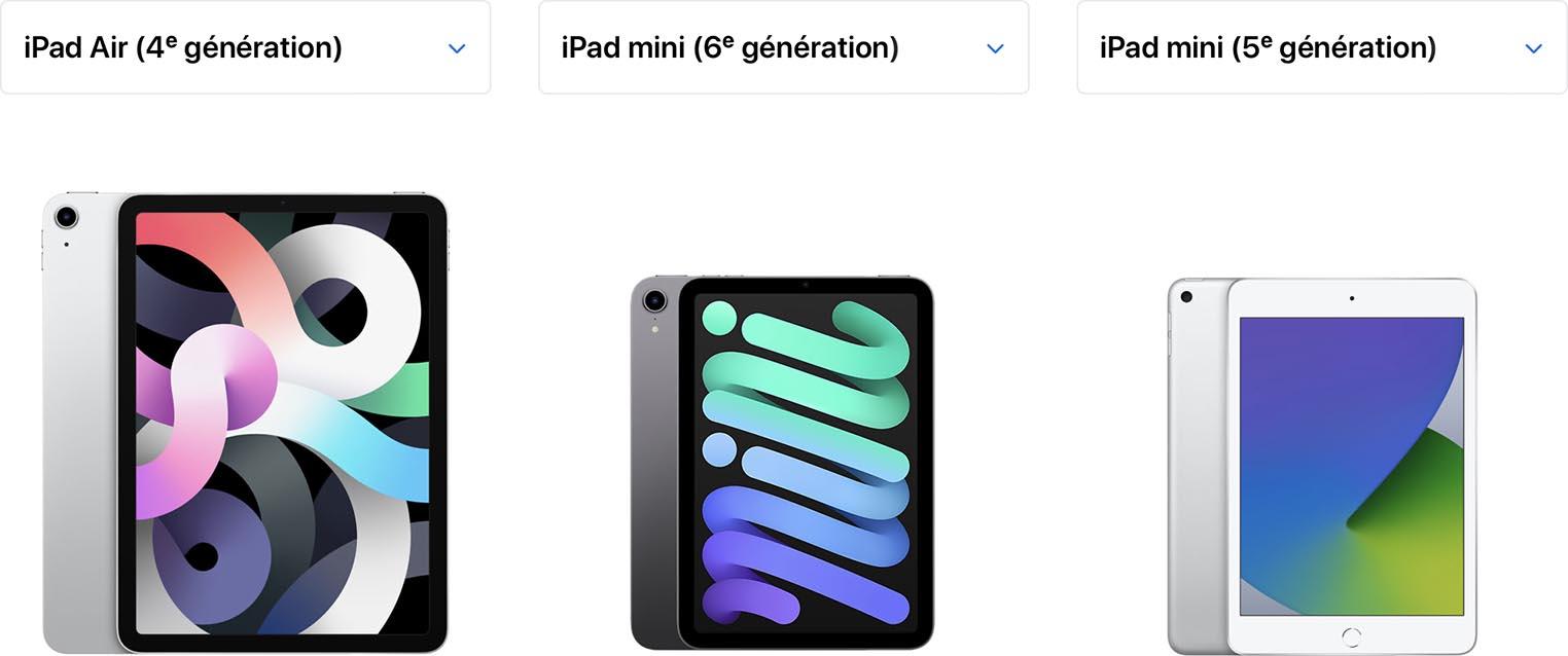 Comparaison taille iPad mini 6