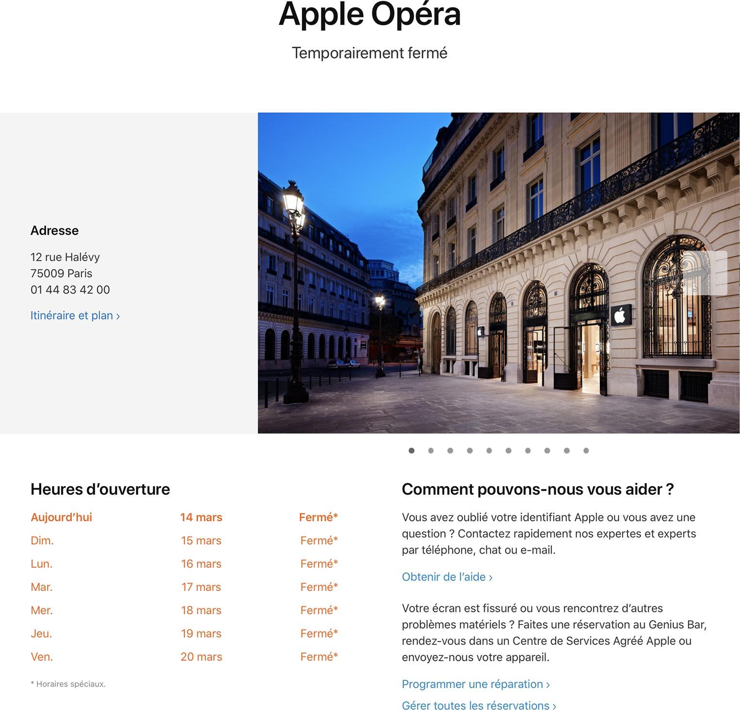 Coronavirus Apple Store Opéra fermé