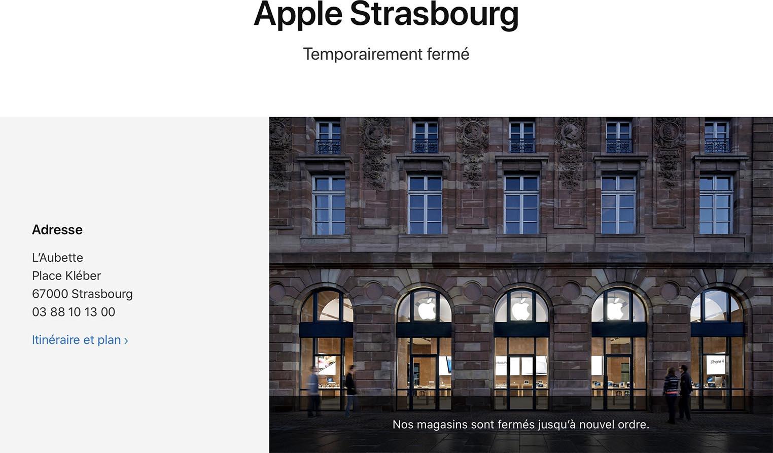 Apple Store Strasbourg fermé coronavirus
