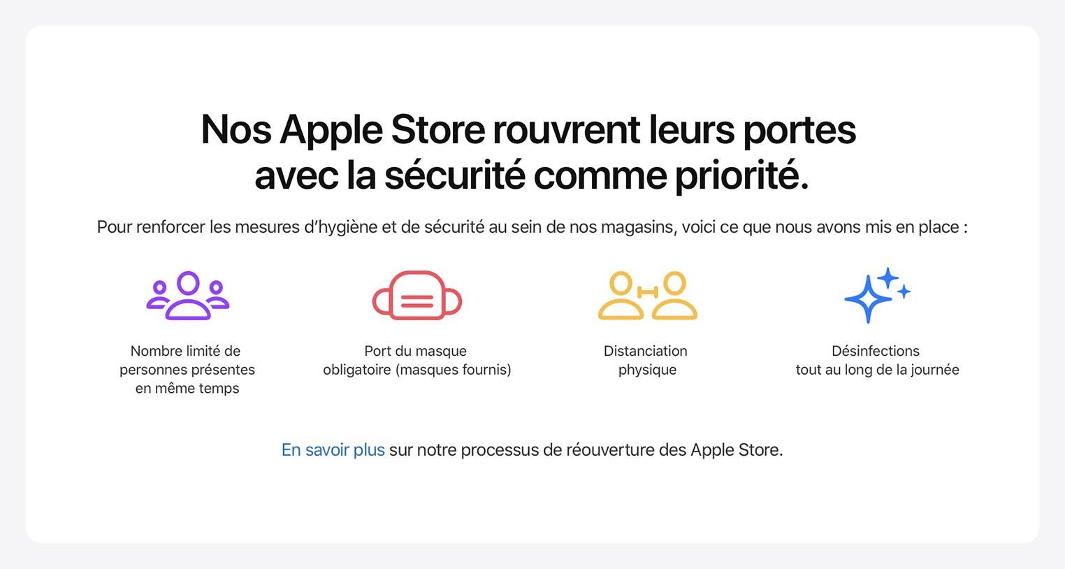 Apple Store France réouverture mesures