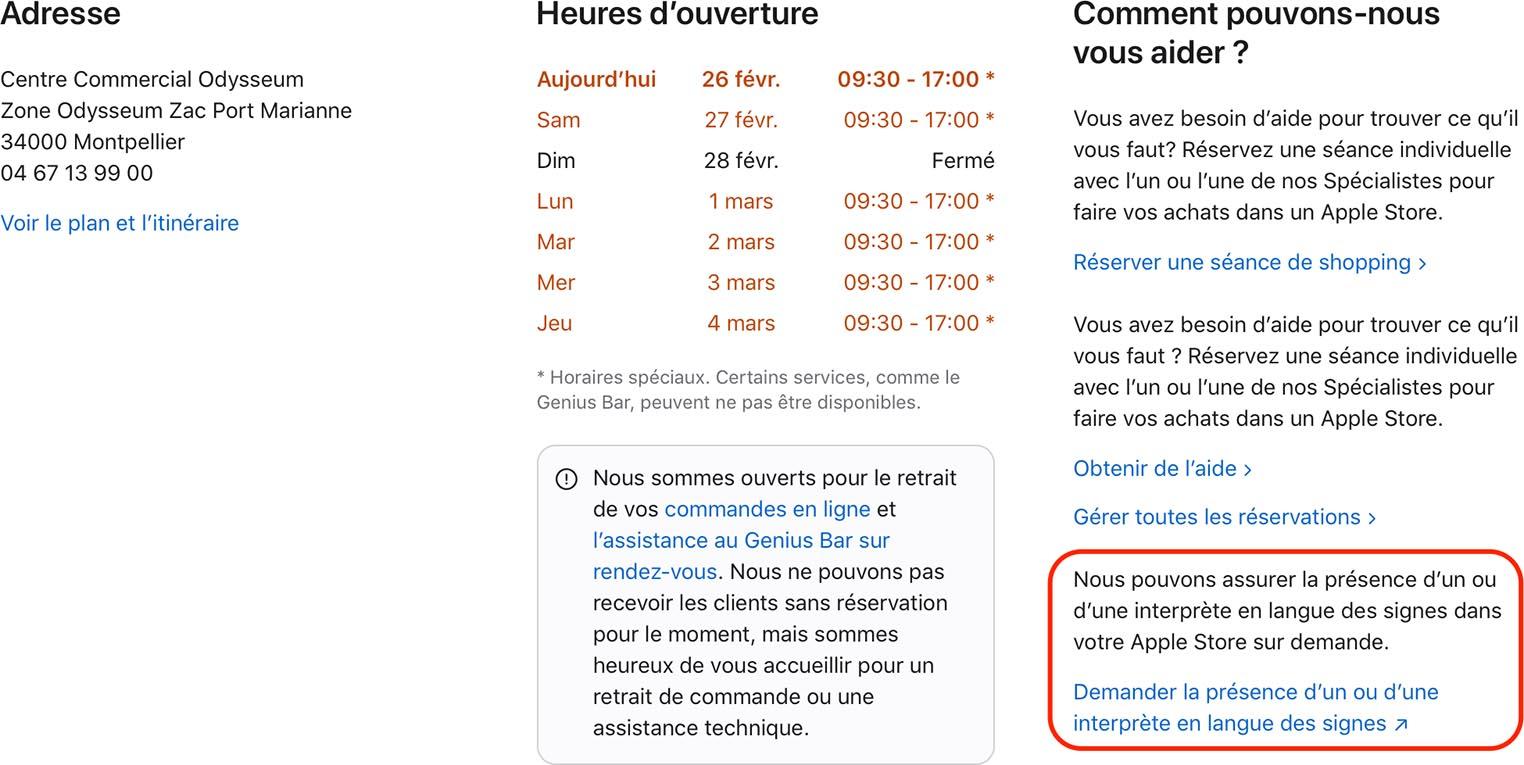 Apple Store réserver rendez-vous langue des signes