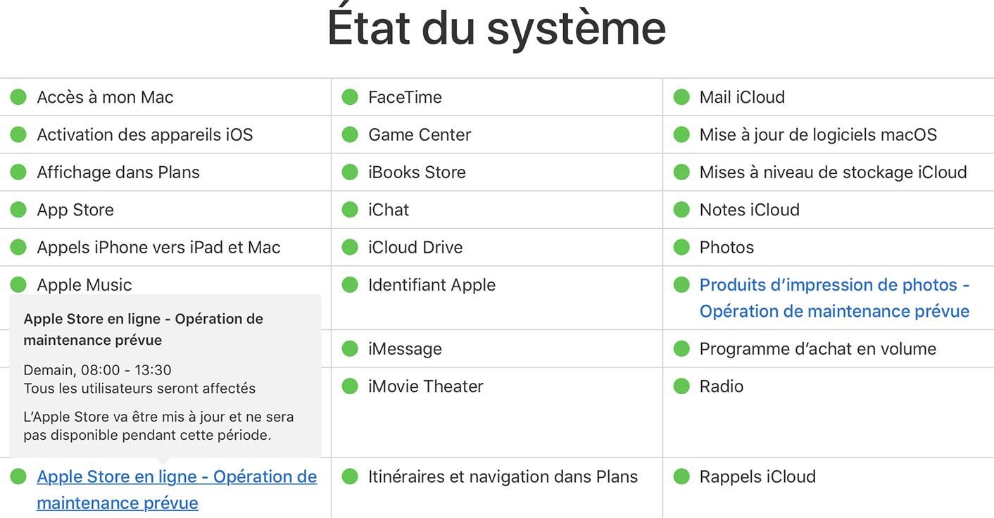 Apple Store État du Système