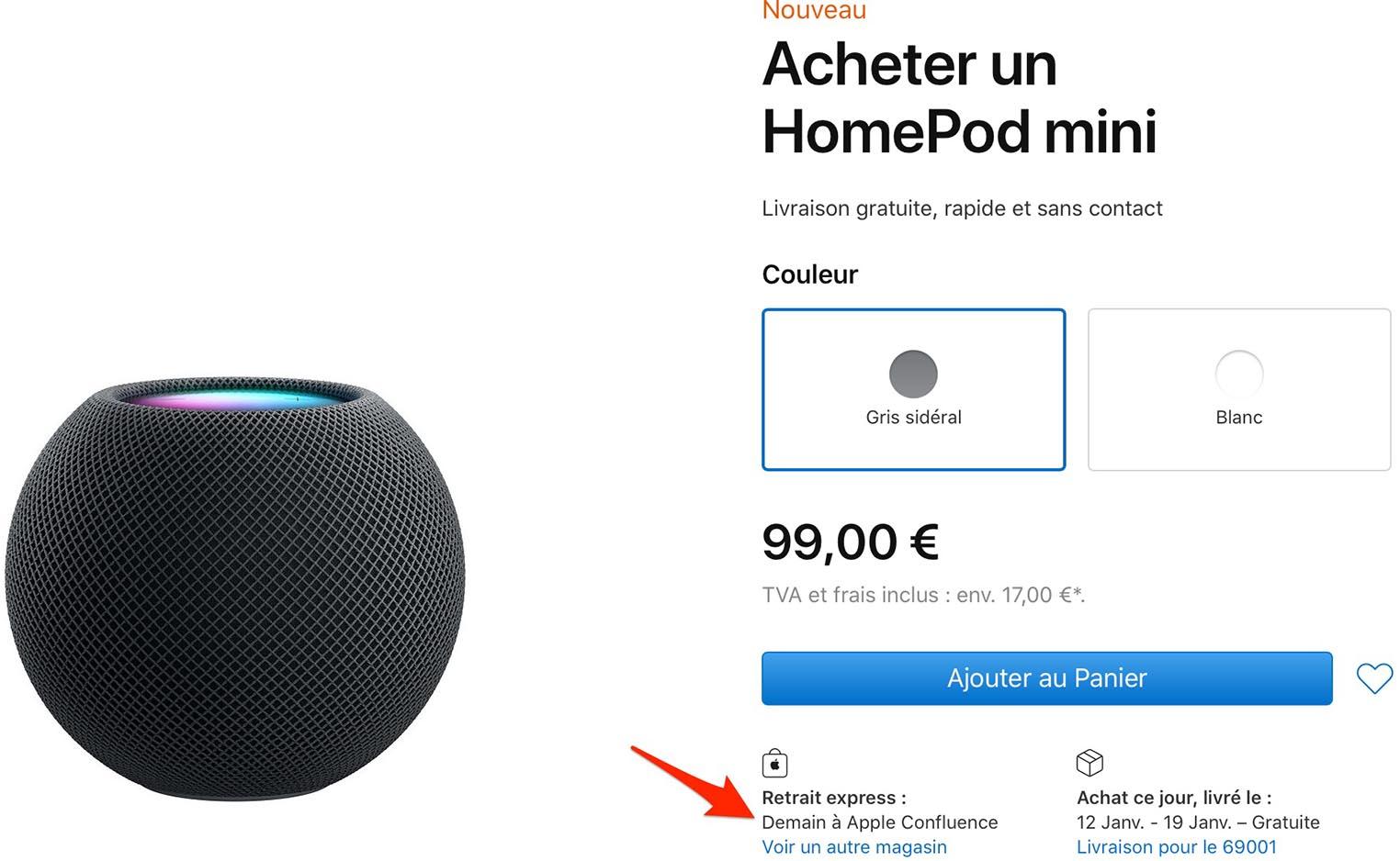 Apple Store retrait HomePod mini
