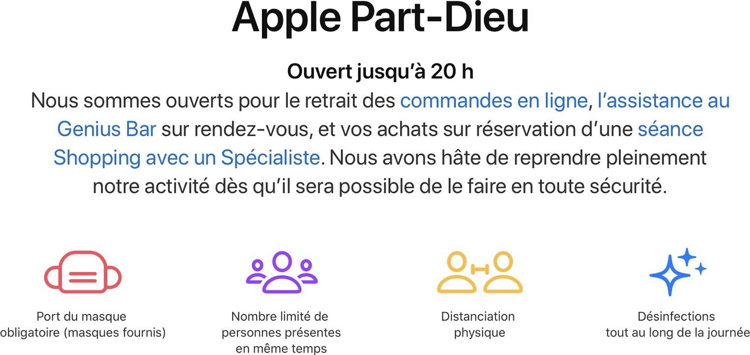 Apple Store sur rendez-vous COVID-19